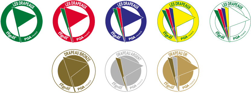 Drapeaux des différents étapes de progression des élèves golfeurs